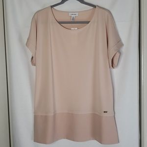 Calvin Klein Pull Over Blush Blouse | Size Large